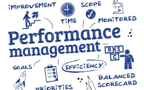Performance management - chart with keywords and icons