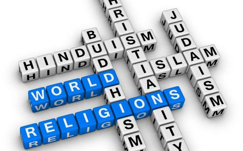 Major world religions - Christianity, Islam, Judaism, Buddhism and Hinduism
