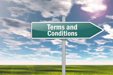 Signpost with Terms and Conditions wording