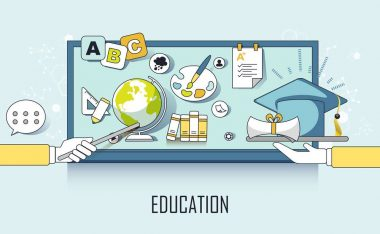 education concept: learning elements and graduation cap in line style